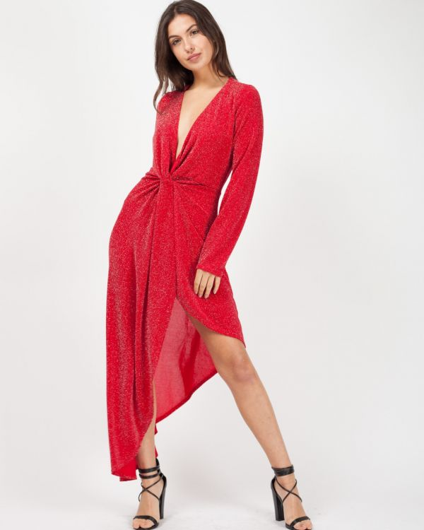 *Kady McDermott* Rosalina Twist Front Asymmetrical Lurex Dress In Red