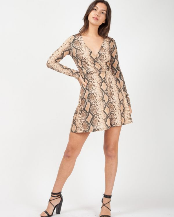 Dionne Snake Print Wrap Front Lurex Dress In Stone