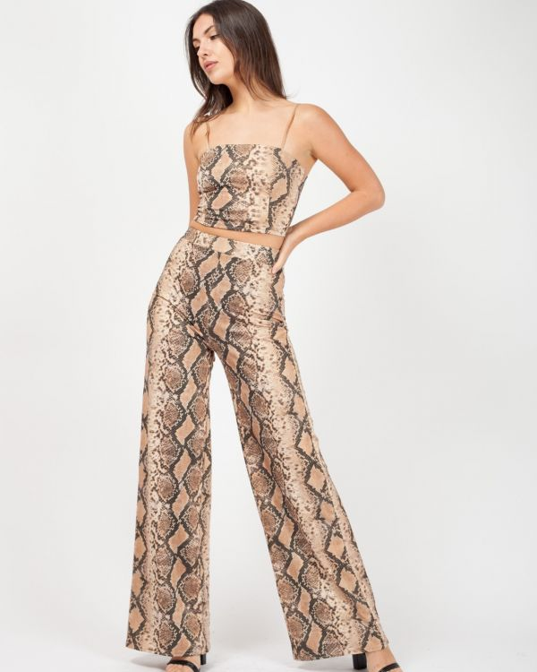 Cher Lurex Snake Print Co-ord In Stone