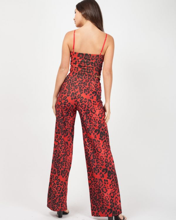 Violeta Lurex Leopard Print Co-ord In Red