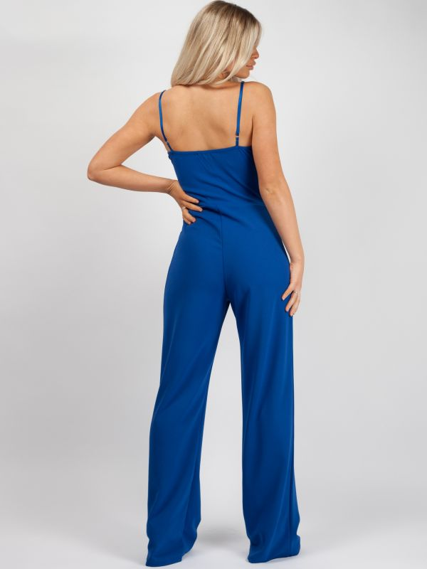 Skye Double Circle Belted Jumpsuit In Royal Blue