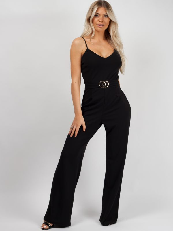 Skye Double Circle Belted Jumpsuit In Black