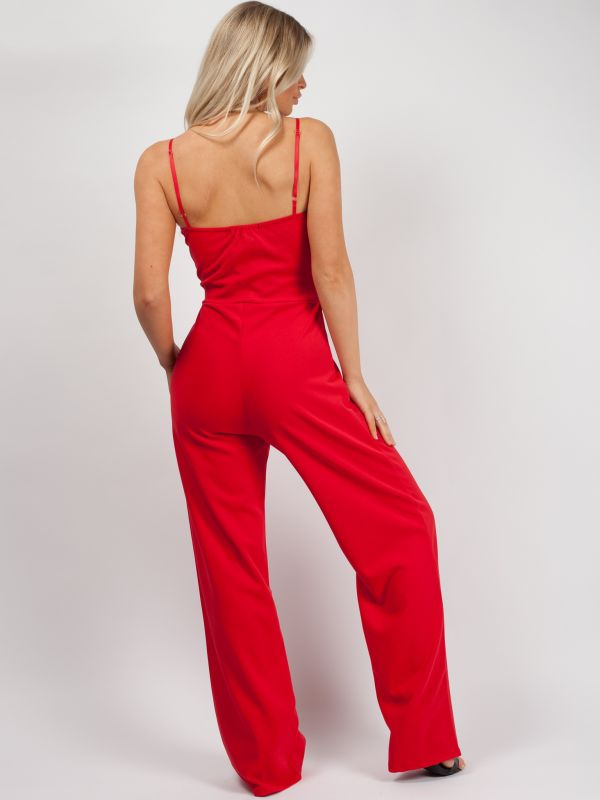 Skye Double Circle Belted Jumpsuit In Red