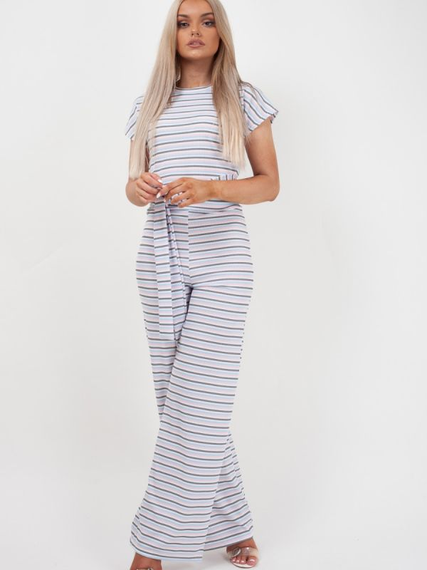 *OLIVIA BUCKLAND* Selcan Striped Ribbed Crop Top & Trouser Co-ord In Pink