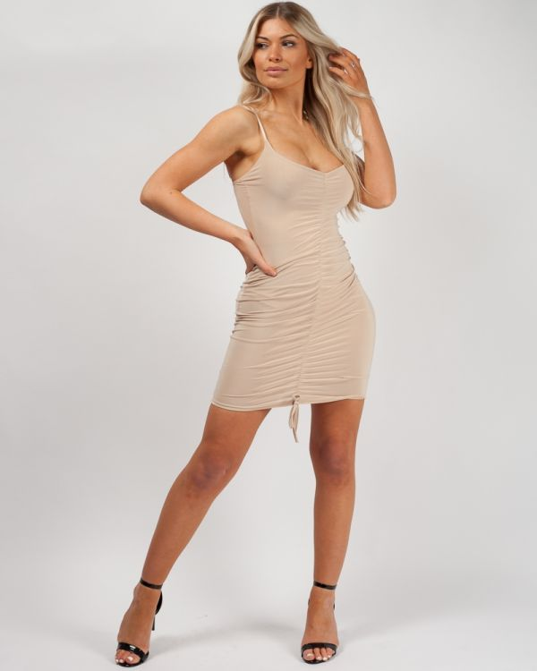 Ava Slinky Ruched Cami Dress in Stone