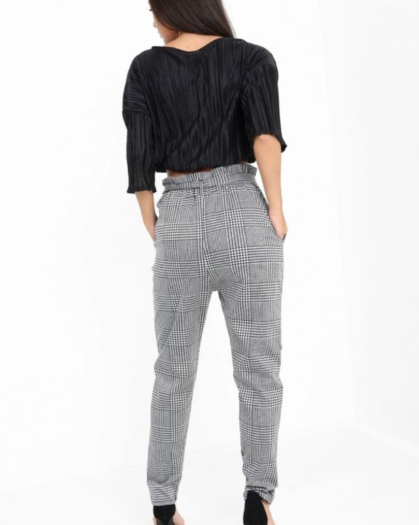 Morgan Houndstooth Paper Bag Trousers In Monochrome