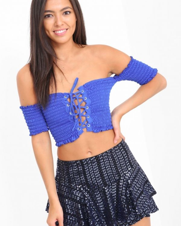 Jamina Lace Up Shirred Bandeau Top In Blue