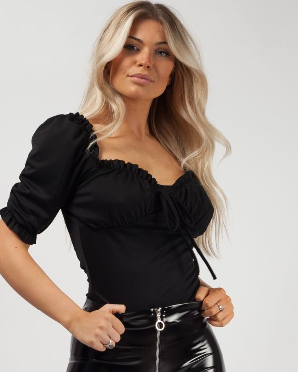 Carmen Milkmaid Puff Shoulder Tie Frill Top in Black