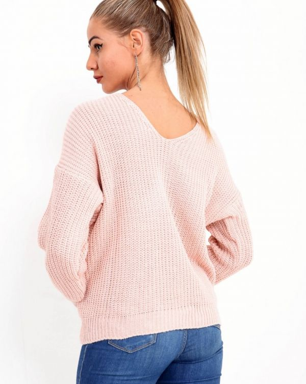 Ambreya Twist Knot Pearl Jumper In Nude