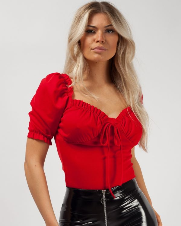 Carmen Milkmaid Puff Shoulder Tie Frill Top in Red