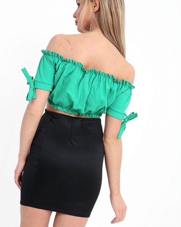 Georgina Ruched Bardot Crop Top In Mint Green