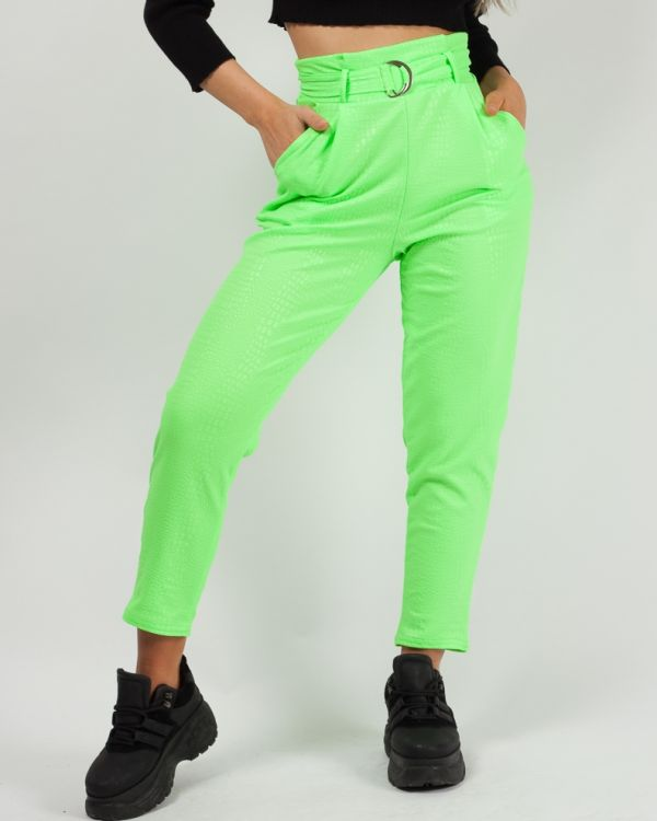 Esme Belted Crocodile Print Tapered Trousers Neon Green