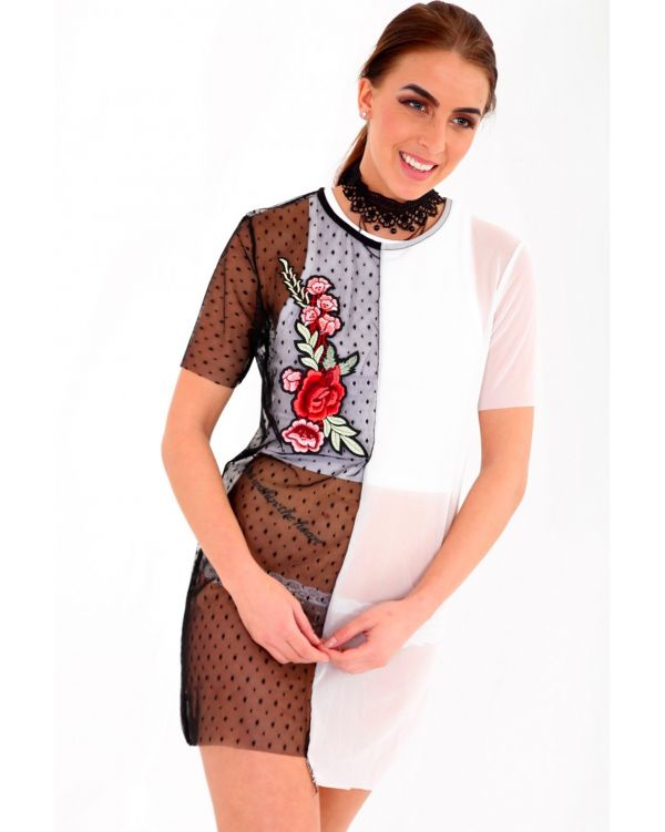 Amber Floral Embroidered Contrast Mesh T-Shirt Dress In Black & White