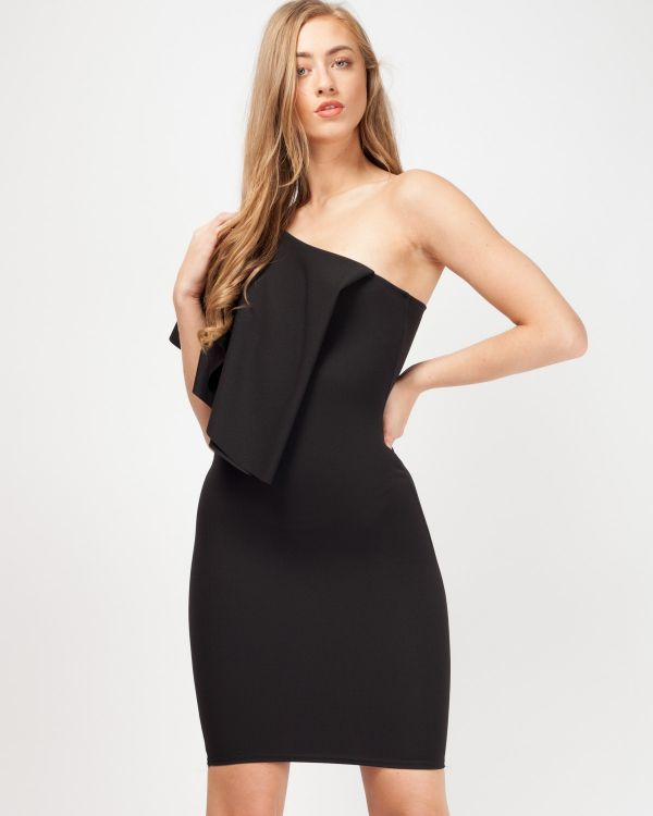 *Rosie Williams* Estelle One Shoulder Frill Bodycon Dress In Black