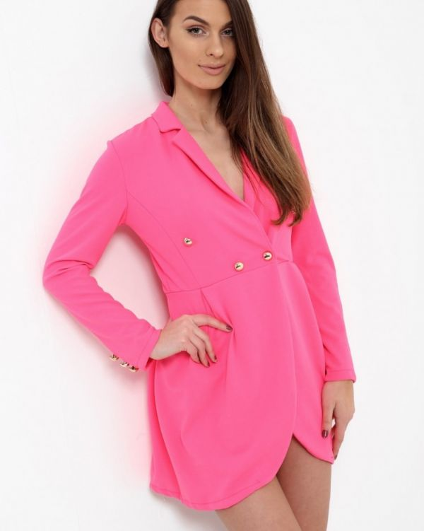 Meaghan Blazer Dress In Neon Pink