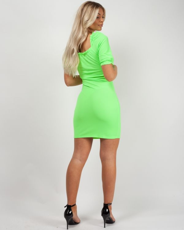 Lidia Ruched Frill Gypsy Dress In Neon Green