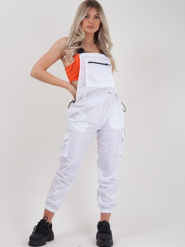 Gwendalin Shell Suit Festival Dungaree In White