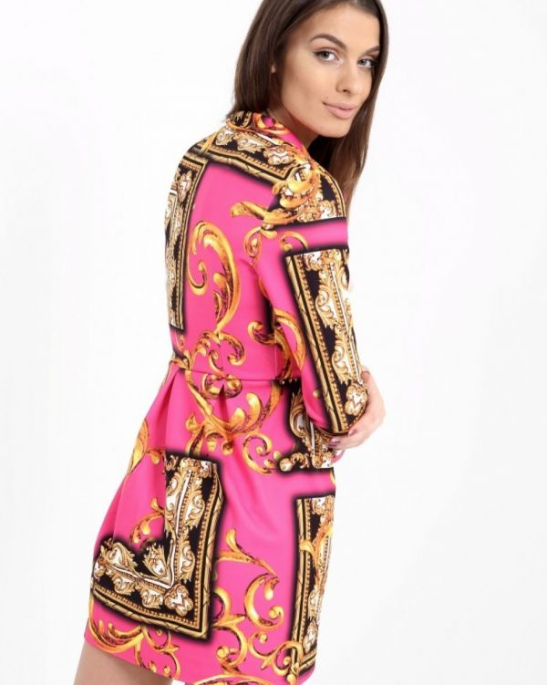 Meaghan Scarf Print Blazer Dress In Pink