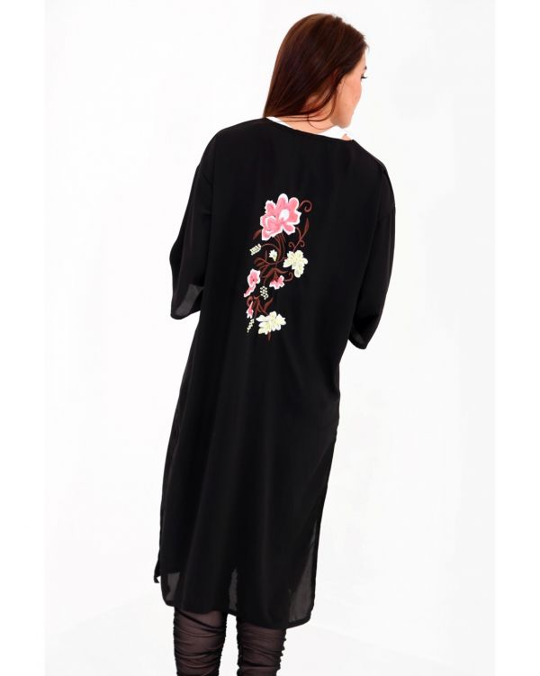 Daria Floral Embroidered Back Open Cardigan In Black