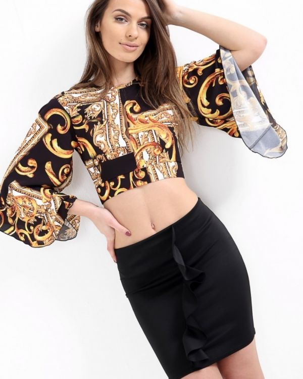 Vivien Scarf Print Tie Back Crop Top In Black