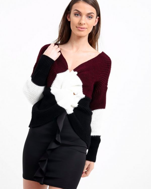 Cerry Colour Block Twist Knot Jumper