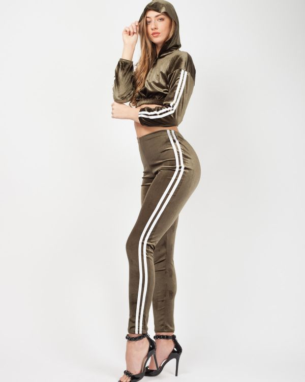 Melia Side Stripe Velour Cropped Tracksuit In Khaki