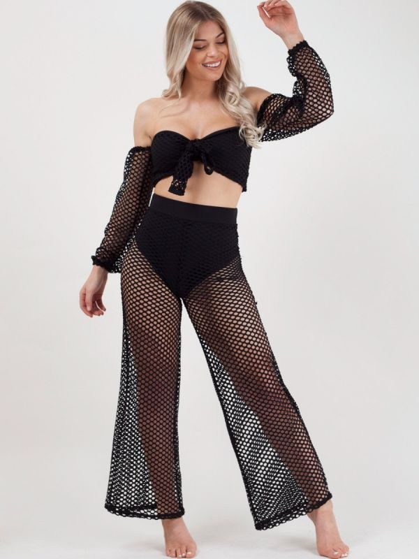 Daniella Fishnet Tie Crop Top & Trouser Co-ord In Black