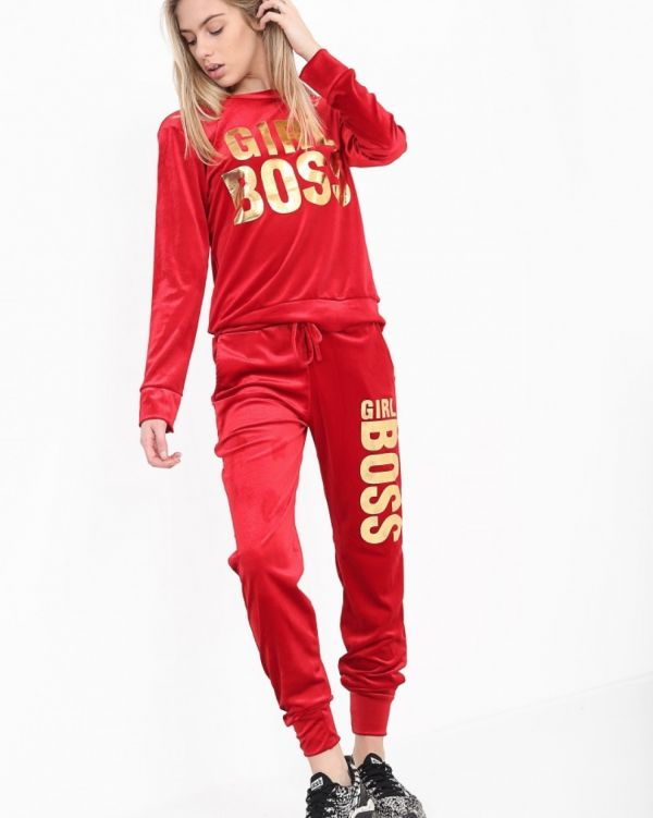 Hailey Girl Boss Loungewear Tracksuit In Red