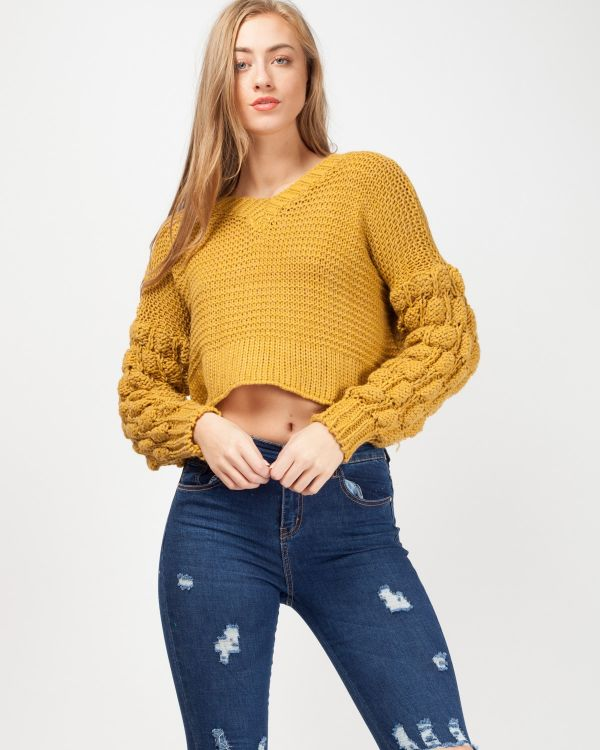 Cece Bobble Sleeve Cropped Knitted Jumper In Mustard