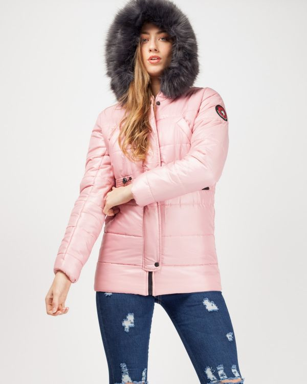 Milna Faux Fur Hood Padded Jacket In Pink
