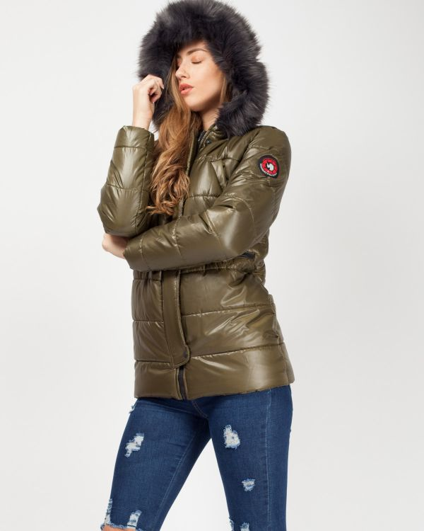 Milna Faux Fur Hood Padded Jacket In Khaki