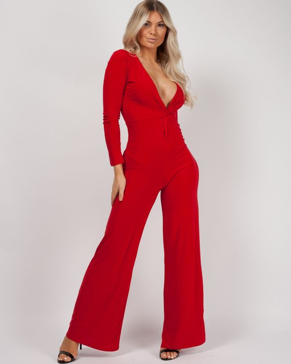 Luna Twist Front Slinky Jumpsuit In Red