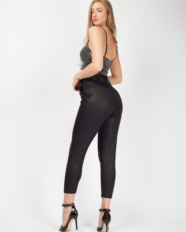 Esme Belted Crocodile Print Tapered Trousers In Black