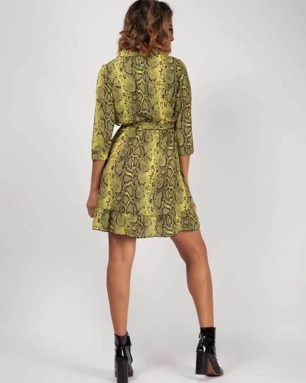 Camara Snake Print Wrap Front Belted Dress In Neon Green