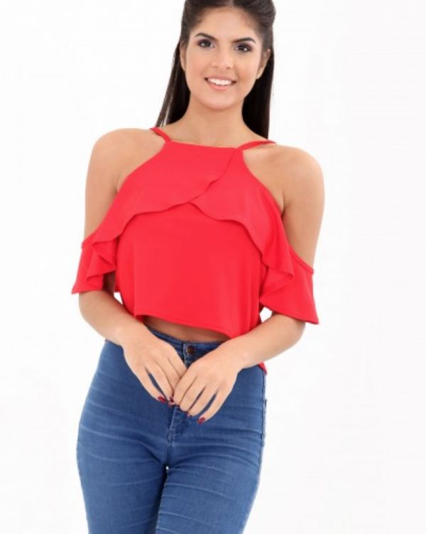 Fara Frill Cami Top In Red