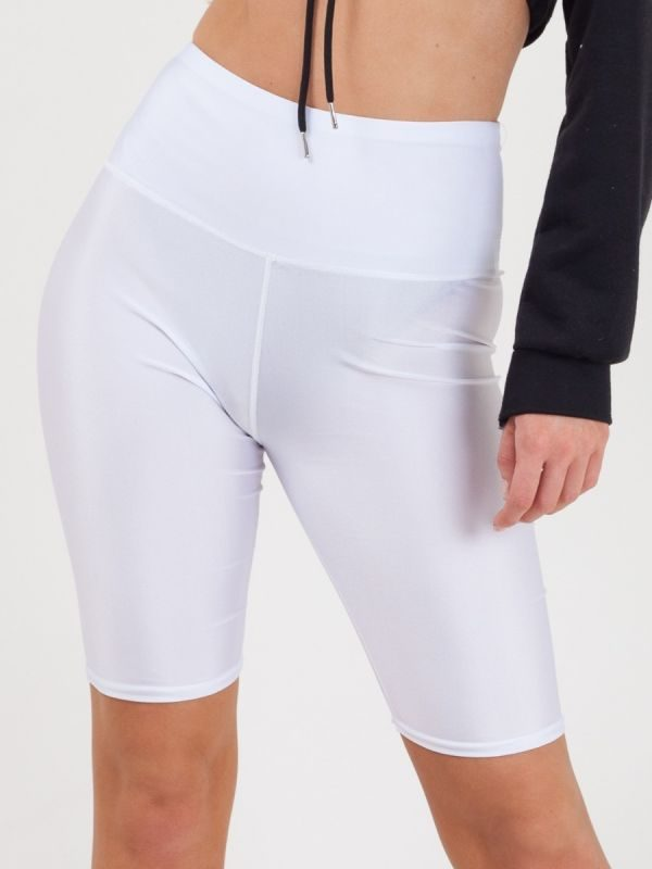 Frankie Satin Cycling Shorts In White