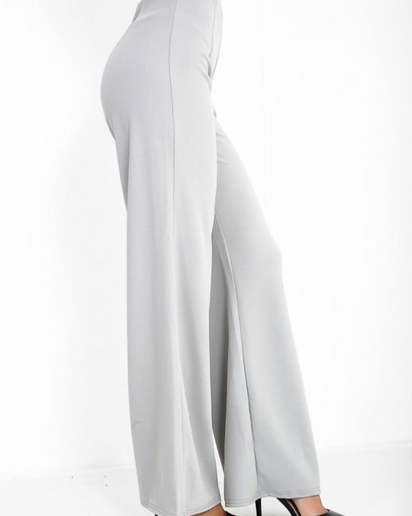 Lillian High Waisted Flare Trouser In Grey