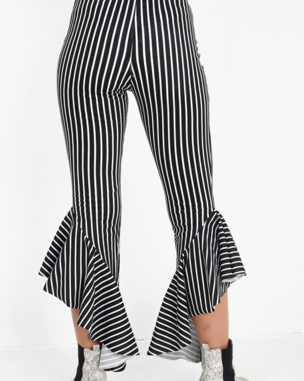 Madisson Striped Flared Trousers In Monochrome