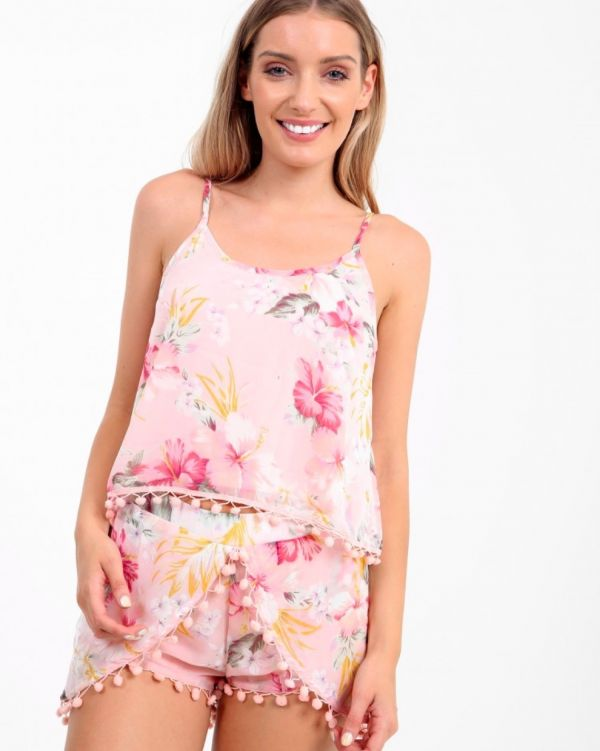 Misha Floral Pom Po Co Ord In Pink