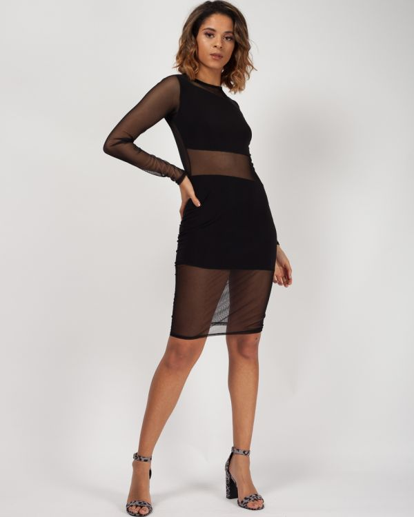 Kailani New Mesh Panelled Bodycon Dress In Black