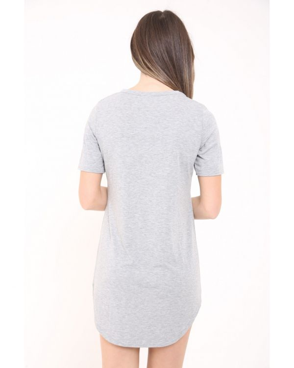 Emily Lace Up Renegade Skull Print Longline T Shirt Dress In Grey