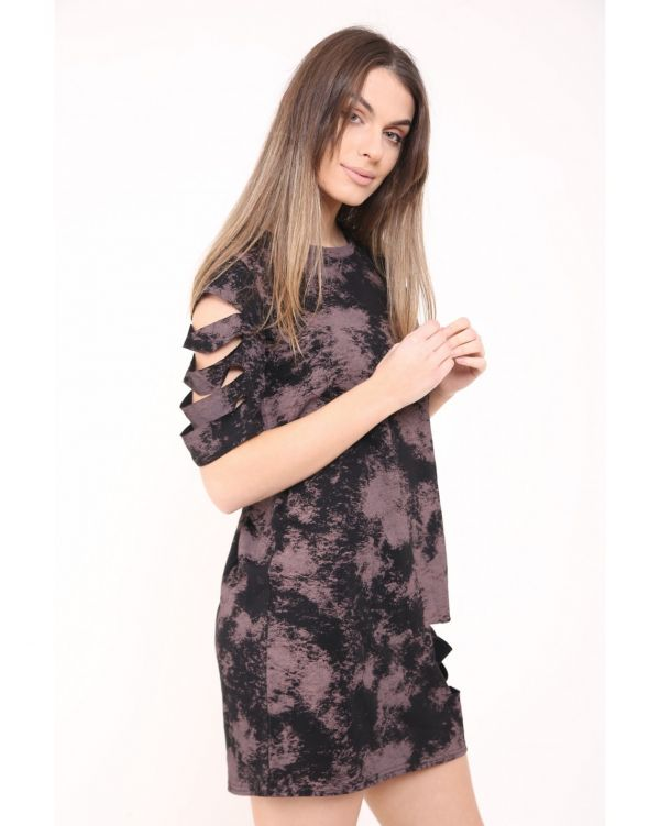 Leticia Laser Cut Sleeve And Front Tie Dye Longline T Shirt Dress In Rose Gold