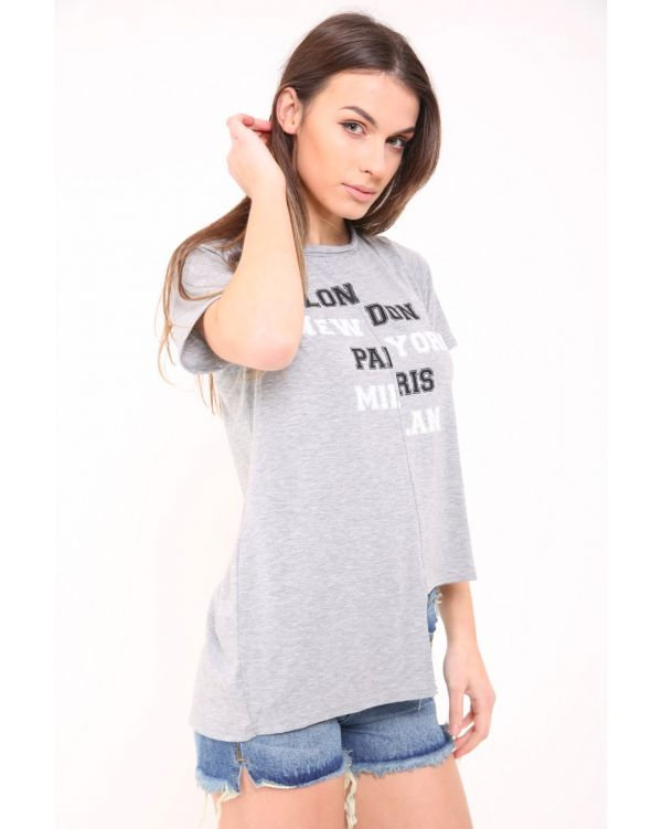 Palina London New York Print Hi-Lo Top In Grey