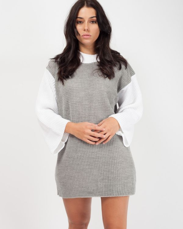 *Rosie Williams* Chloë Two Tone Knitted Jumper Dress In Grey