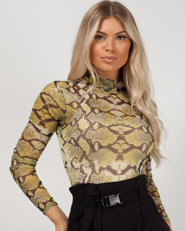 Tallie Snake Print Mesh Bodysuit In Lemon