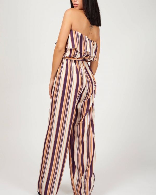 Nylah Striped Frill Bandeau Jumpsuit In Wine