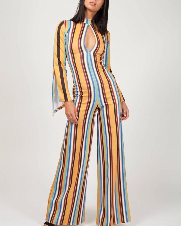 Alessia Keyhole Front Striped Jumpsuit In Mustard