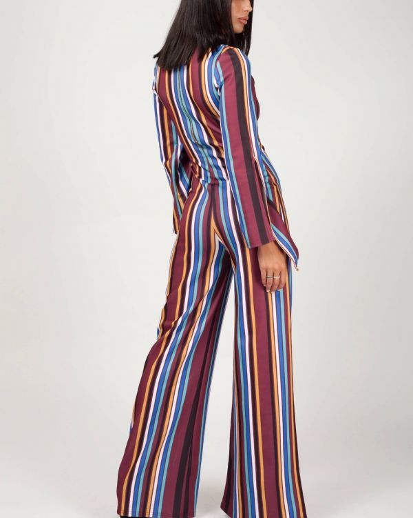 Alessia Keyhole Front Striped Jumpsuit In Wine