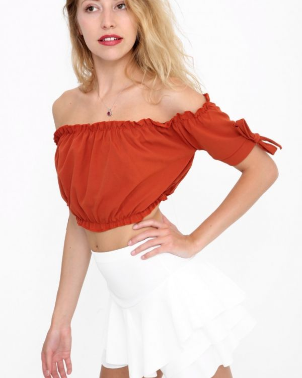 Georgina Ruched Bardot Crop Top In Rust