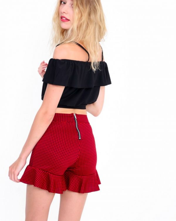 Berelle Gingham Frill Shorts In Red